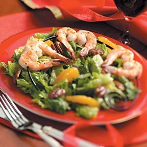 Romaine Pecan Salad with Shrimp Skewers Recipe