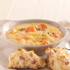 Cheesy Cauliflower and Potato Soup Recipe