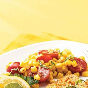 Sauteed Corn with Tomatoes & Basil Recipe