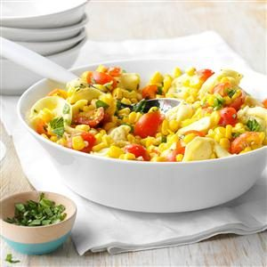 Cheese Tortellini with Tomatoes and Corn Recipe