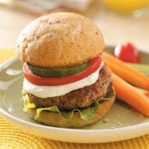 Greek Turkey Burgers with Spicy Yogurt Sauce Recipe