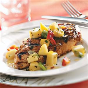 Spicy Chicken Breasts with Pepper Peach Relish Recipe