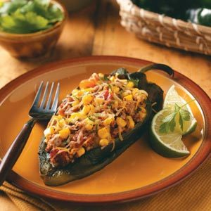 Poblanos Stuffed with Chipotle Turkey Chili Recipe