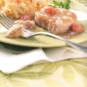 Sweet Onion & Cherry Pork Chops Recipe