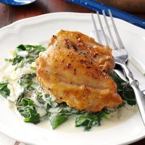 Chicken Thighs with Shallots & Spinach Recipe
