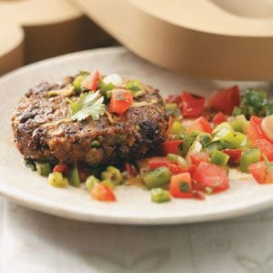 Black Bean Cakes with Mole Salsa Recipe