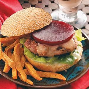 Cranburgers with Sweet Potato Fries Recipe