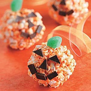 Jack-o'-Lantern Popcorn Balls Recipe