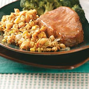 Glazed Pork Chops with Corn Bread Dressing