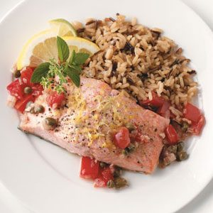 Salmon with Tomato Shallot Sauce Recipe