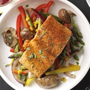 Lemon-Lime Salmon with Veggie Saute Recipe