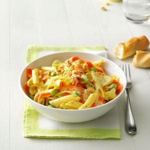Creamy Pesto Penne with Vegetable Ribbons Recipe