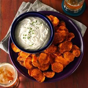 Spicy Sweet Potato Chips & Cilantro Dip Recipe