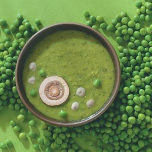 Pea Soup with Mushroom Cream Sauce