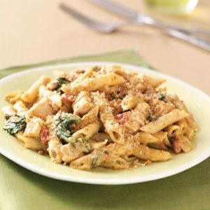 Pesto-Chicken Penne Casseroles Recipe