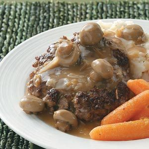 Hamburger Steaks with Mushroom Gravy Recipe