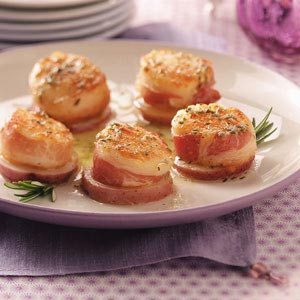 Pancetta Scallops on Potato Rounds Recipe