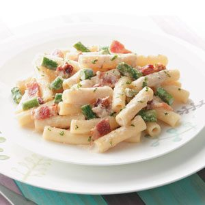 Makeover Rigatoni with Bacon and Asparagus Recipe