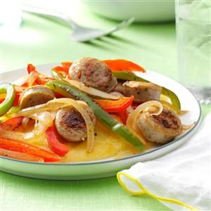 Sausage & Peppers with Cheese Polenta Recipe