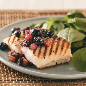 Grilled Halibut with Blueberry Salsa Recipe