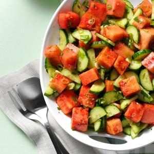 Minty Watermelon-Cucumber Salad Recipe
