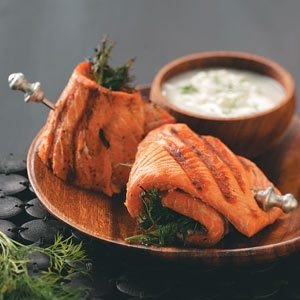 Salmon Spirals with Cucumber Sauce Recipe