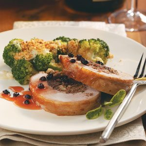 Stuffed Pork Loin with Currant Sauce