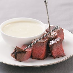 Grilled Steak Appetizers with Stilton Sauce Recipe