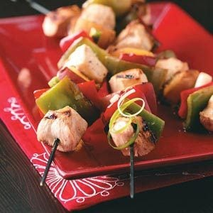 Chicken Kabobs with Peach Glaze