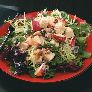Peachy Chicken Salad on Salad Greens