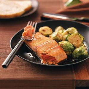 Glazed Salmon with Brussels Sprouts Recipe