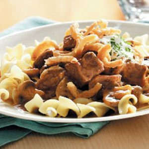 Crunchy Onion Slow Cooker Beef Stroganoff Recipe