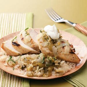 Grilled Tomatillo Chicken for 2