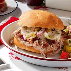 Grilled Shredded Pork Sandwiches