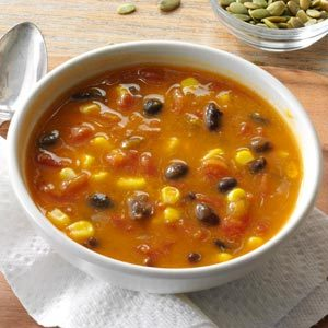 Spicy Pumpkin & Corn Soup Recipe