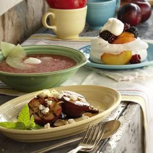 Balsamic-Goat Cheese Grilled Plums Recipe