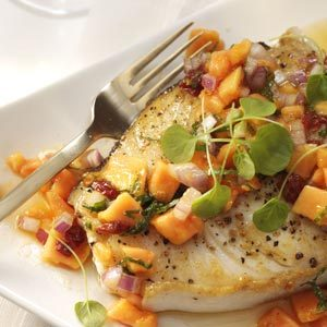 Halibut Steaks with Papaya Mint Salsa Recipe