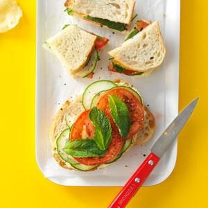 Mint-Cucumber Tomato Sandwiches Recipe