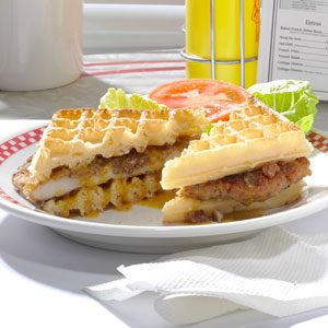 Pecan-Crusted Chicken Waffle Sandwiches Recipe