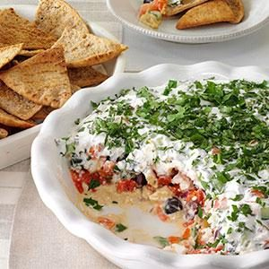 Layered Mediterranean Dip with Pita Chips Recipe