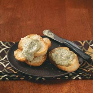 Pesto Dip with Parmesan Toast