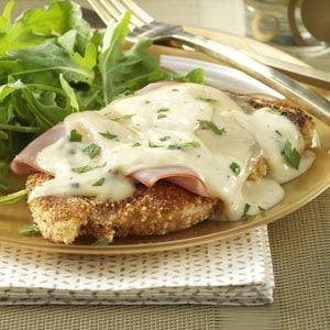 Chicken Cordon Bleu with Mushroom Sauce and Rice Recipe