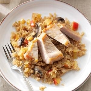 Apple-Balsamic Pork Chops & Rice