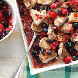 Pork Tenderloin with Three-Berry Salsa