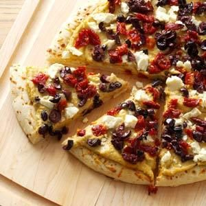 Speedy Hummus Pizza Recipe photo by Taste of Home