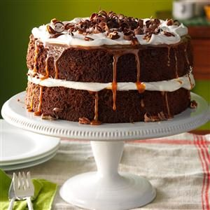 Caramel-Pecan Mocha Layer Cake Recipe