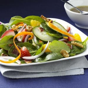Strawberry-Orange Spinach Salad with Toasted Walnuts Recipe