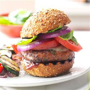 Barbecued Basil Turkey Burgers