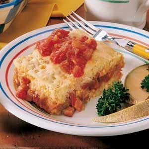Meaty Corn Bread Squares Recipe