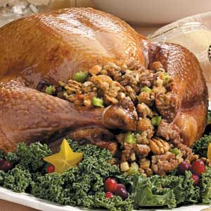 Turkey with Sausage-Pecan Stuffing Recipe